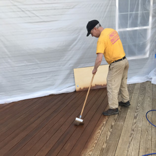 John Working the Oil Based Stain Into the Wood